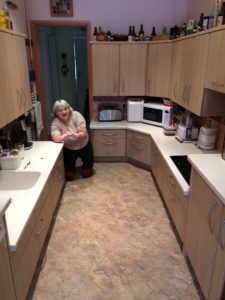 Kath's kitchen design includes worktops at different heights for both her and her husband to use