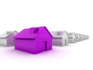 purple house standing out against others in grey to show difference needs