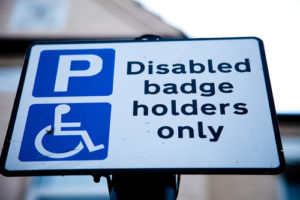 sign indicating disabled parking space