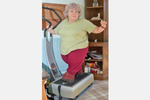 Kath West using her exercise machine