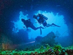 Diving in a wreck at Truk Lagoon