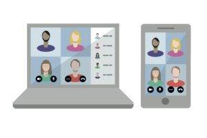 screen showing online meeting for flexible working