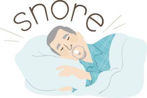 man snoring loudly