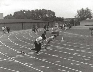 men running in disabled championships 1985
