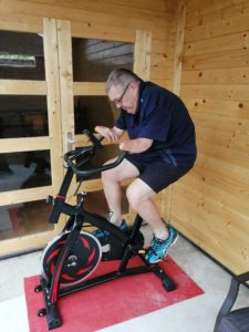 Neal Merry on his exercise bike