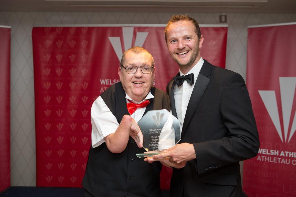 Neal Merry receiving his athletics award 2016