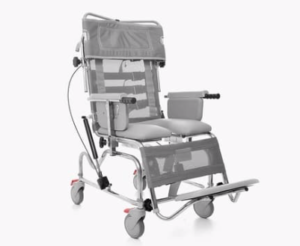 Tilt in space chair for bathing and showering