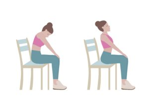 stretching back muscles while sitting