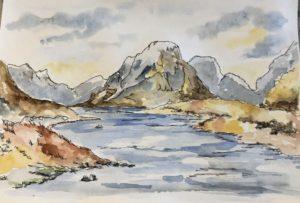 Jacqueline Fleming original artwork lake and mountains